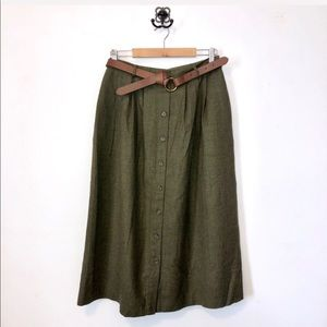 LL Bean Vintage Olive Wool Button Down Midi Skirt